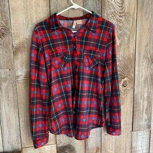 Anthro Eden & Olivia Plaid Flannel Button  Shirt